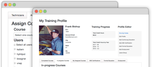View of your training profile in your account on automotive video.